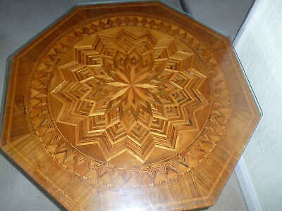 Italian Antique Marquetry Coffee Table From Sorrento,Octagonal,Pedestal 3 Leg,  • 500£