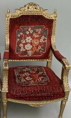 Red Embroidered Vintage Throne Chair Gold Ornate Antique  • 95£