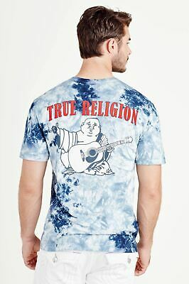 TRUE RELIGION Men's Ocean Waves Blue Tie Dye Buddha Logo T-Shirt XS BNWT RRP69 • 20.65£