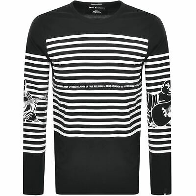 TRUE RELIGION Men's Black Stripe Buddha Tee Long Sleeve Top Size S RRP79 BNWT • 23.65£