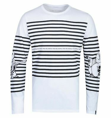 TRUE RELIGION Men's White Stripe Buddha Tee Long Sleeve Top Size S RRP79 BNWT • 23.65£