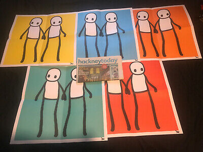Stik Print Holding Hands Signed By Artist Full Set. Hackney Today Newspaper • 2,500£