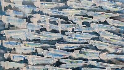 Original Abstract Acrylic Painting Canvas - ANCHOVIES TWO - Sea, Blues, Fish • 22£
