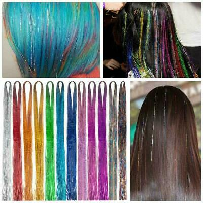 250 Strands Holographic Sparkle Hair Tinsel Glitter Extensions Dazzles 48  Long • 0.99£