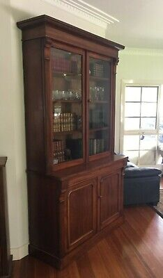 AU775 • Buy Genuine Antique Victorian Mahogany Bookcase / Display Cabinet / Dresser!