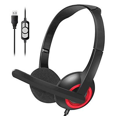 USB Headset With Microphone,Noise Cancelling Microphone Dual Ear Skype Headset & • 22.87£