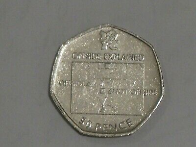 2011 London Olympics 50p Coin - Football Offside Rule, Circulated Condition • 12.50£