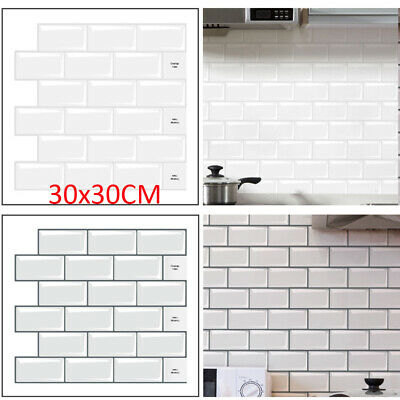 £4.98 • Buy 3D Wall Tile Stickers Kitchen Bathroom Mosaic Self-adhesive Home Decor 30x30cm