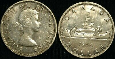 Canada Dollar $1 1959 Voyager .800 Silver KM#54 (T57) • 19.99£