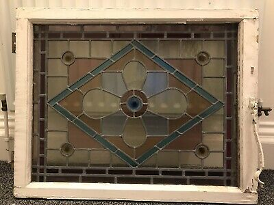 Antique Sunderland Glass Stained Glass Window Panel Leaded In Wooden Frame • 41£