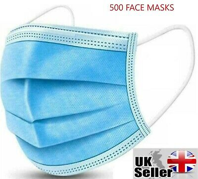 £9.99 • Buy 500 X Disposable Face Mask 3 PLY Disposable Face Mask