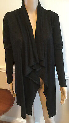 Ladies George Longline Cardigan Waterfall Front Black And Sparkle Size 14 • 2.99£