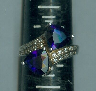 $19.99 • Buy OLD Mrk CWE Charles Winston 925 Sterling Twin Sapphire Hearts Crystal Ring 7 1/2