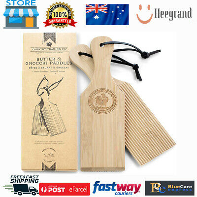 AU22.69 • Buy Butter Paddles And Gnocchi Board - Set Of 2 Sustainable Wooden Makers To Mold