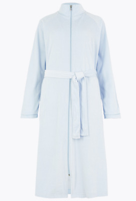 £19.95 • Buy Ex Marks And Spencer Pale Blue Velour Long Dressing Gown Size 6-8 (G2.69)