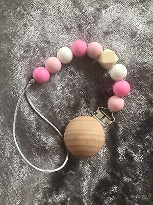 Silicone And Wooden Beads Pacifier Clip, Baby Dummy Holder Pink • 4.49£