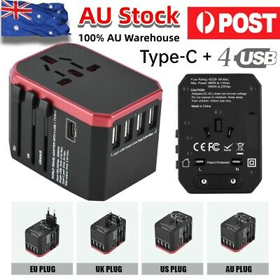 AU27.41 • Buy Universal International Travel Adapter 4 USB + Type C Power Charger Converter