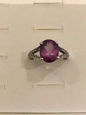 Beautiful Mystic Pink Magenta & White Topaz Sterling Silver Ring Size N • 25£