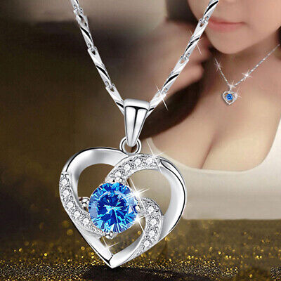 AU3.21 • Buy 2021 Fashion Heart Silver Necklace Pendant For Women White Sapphire Jewlery Gift