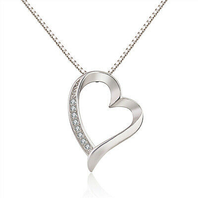 £2.97 • Buy Heart Crystal 925 Sterling Silver Pendant Chain Necklace Womens Jewellery Gift