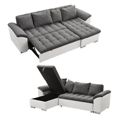 L-Shaped Fabric Leather Corner Sofa Bed Recliner With Storage Sleep Function • 499.99£