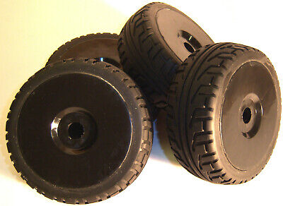 B7033B 1/8 Scale On Road Wheels And Tyres RC Nitro Buggy Black X 4 • 22.98£