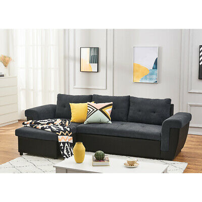 Universal Fabric Leather Corner Sofa Bed With Storage Container Sleep Function • 439.99£