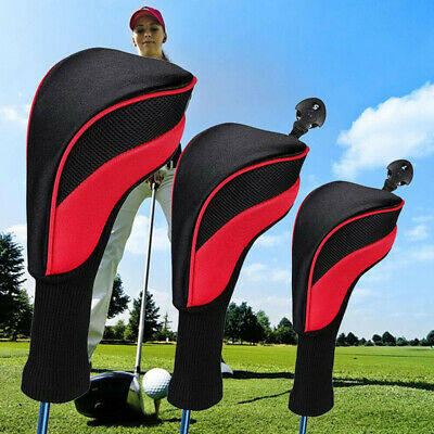AU23.99 • Buy 3Pcs Golf Club Head Covers Set Long Neck Driver 1/3/5 Fairway Woods Headcovers