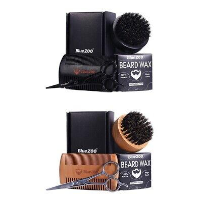 4 In1 Beard Grooming Care Kit For Men Moustache Wax Beard Brush Comb Scissor • 11.93£