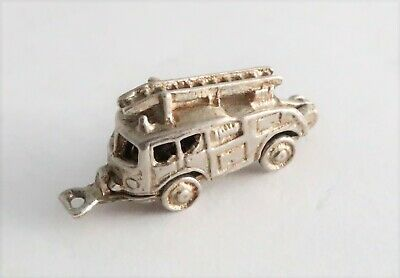 Vintage Sterling Silver Charm Fire Engine - Articulated Charm Opens • 0.99£