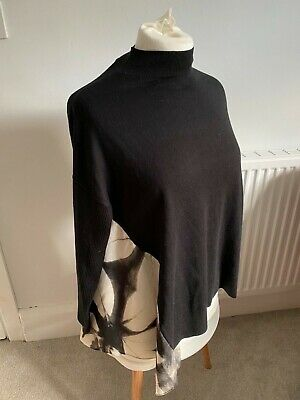Mint Velvet Black And Cream Knitted Jumper With Fabric Inset • 30£