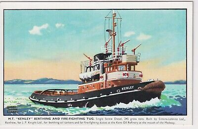 M.T. Kenley Berthing And Fire-Fighting Tug Postcard • 0.99£