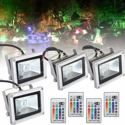 2x 4x Outdoor Garden Waterproof Remote Control RGB LED Flood Light Spotlight 10W • 8.99£