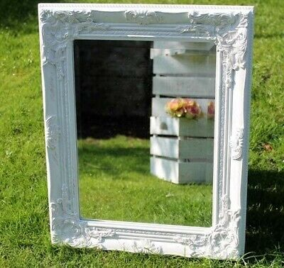 French White Mirror Shabby Chic Ornate Wall Hanging Home Decor Baroque Art New  • 26.49£