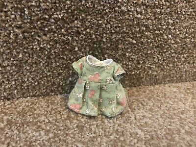 SYLVANIAN FAMILIES Green Vintage Mother's Dress Clothes With Snap Popper • 4.50£