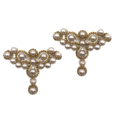£3.60 • Buy 2x Crystal Shoe Clips Charm Buckle Removable Faux Pearls Shoe Hat Decoration