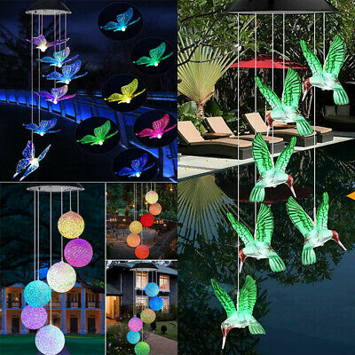 Hanging Wind Chimes Solar Powered LED Light Colour Changing Garden Outdoor Deco • 6.79£