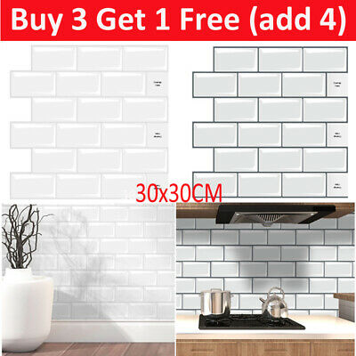3D Self-Adhesive Kitchen Wall Tiles Bathroom Mosaic Brick Stickers Peel Stick UK • 5.27£
