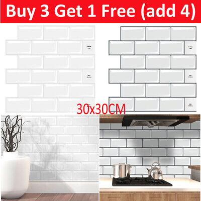 3D Self-Adhesive Kitchen Wall Tiles Bathroom Mosaic Brick Stickers Peel Stick UK • 6.31£