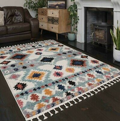 £49.95 • Buy Multicoloured Tribal Aztec Rugs For Living Room Super Soft Low Pile Thick Rug UK