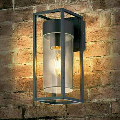 Rectangular Outdoor Glass Wall Light Clear Metal Lantern Garden Wall Lamp • 23.95£