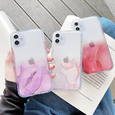 AU8.98 • Buy For IPhone 12 Pro 11 Pro Max Clear Marble Shockproof Case Glitter Bling Cover