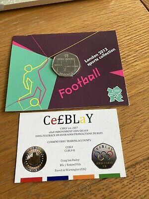 FOOTBALL OFFSIDE RULE 2011 LONDON OLYMPIC SPORT UNC 50p COIN SEALED IN CARD. MON • 10.50£