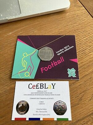 FOOTBALL OFFSIDE RULE 2011 LONDON OLYMPIC SPORT UNC 50p COIN SEALED IN CARD. WED • 1£
