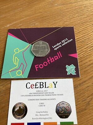 FOOTBALL OFFSIDE RULE 2011 LONDON OLYMPIC SPORT UNC 50p COIN SEALED IN CARD. FRI • 1£