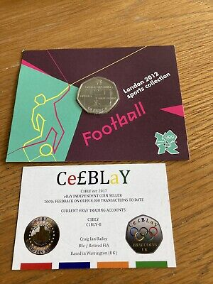 FOOTBALL OFFSIDE RULE 2011 LONDON OLYMPIC SPORT UNC 50p COIN SEALED IN CARD, MON • 1£