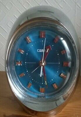 VINTAGE CORAL WIND UP ALARM CLOCK. TURQUOISE FACE. POSS 1970's? CHARITY SALE • 10.50£