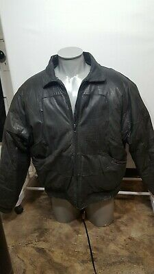 $215 • Buy Original V Bomber Leather Double Goose Country Down Jacket Vintage Crocodile XL