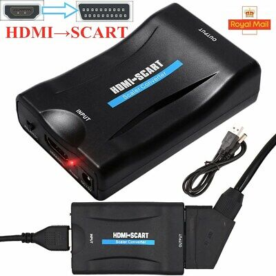 1080P HDMI To SCART Adapter Video Audio Converter USB Cable TV DVD PS3 SkyBox UK • 6.69£