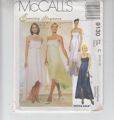 McCalls 9130 Wedding Bridal Empire High Low 2 Lengths Dress Sewing Pattern 12-16 • 5.78£